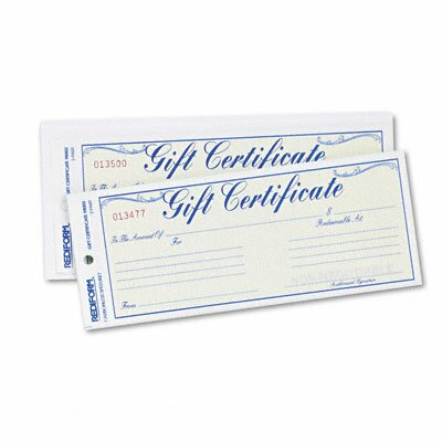 Rediform Office Products Gift Certificate with Envelopes, 25/Pack