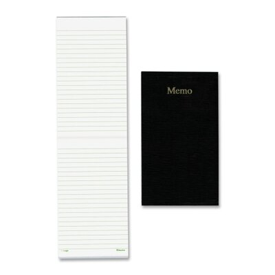 "Rediform Office Products Memo Pad, 3-5/8""x6"", White Paper/Black Cover, 100 Sheets"