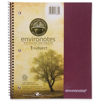 "Roaring Spring Paper Products Wirebound Notebook,1-Sub,11""x9"",100 SH,Assorted"