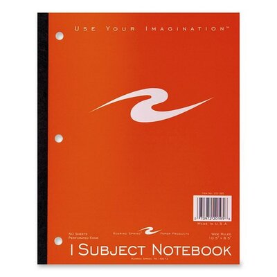 "Roaring Spring Paper Products Wireless Notebook,3-HP,50 Sheet,10-1/2""x8-1/2"",1 Subject"