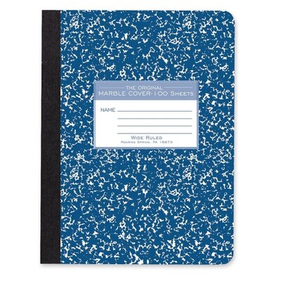 Roaring Spring Paper Products Composition Book, Wide Rule, 9-3/4&quot;x7-1/2&quot;, 100 Sheets, Assorted Marble
