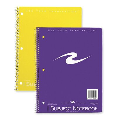 "Roaring Spring Paper Products Spiral Bound Notebook, 1-Sub, Cllg Ruled, 10-1/2""x8"", 3-Hole Punch, 70Sheets, Assorted"