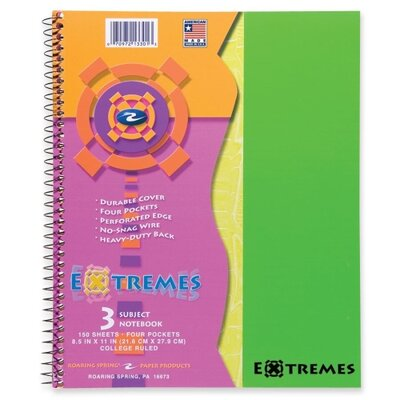 Roaring Spring Paper Products Wirebound Notebook, 3-Sub, College Ruled, 150/Sheets, 11&quot;x9&quot;, Fluorescent