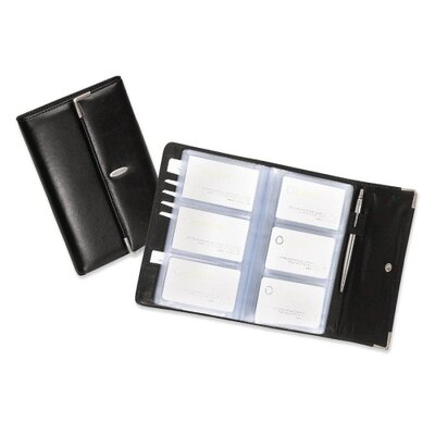 Rolodex Corporation Business Card Book, 96 Capacity, 5-1/4&quot;x10&quot;x1&quot;, Black