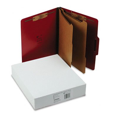 S&J PAPER Classification Folios w/Fastener, Ltr, 6-Section, Executive Red, 10/bx