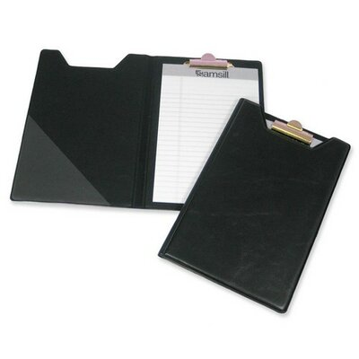 "Samsill Corporation Pad Holder, w/ Clip, Inside Pocket, 8-1/2""x5-1/2"", Black"