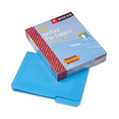 Smead Manufacturing Company Waterproof Poly File Folders, 1/3 Cut Top Tab, Letter, 24/Box