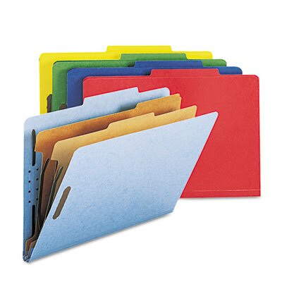 Smead Manufacturing Company Six-Section Pressboard Classification Folders, Legal, 10/Box