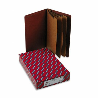 Smead Manufacturing Company Pressboard End Tab Classification Folders, Legal, 8-Section, Red, 10/box