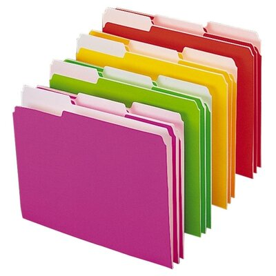Smead Manufacturing Company File Folder, Letter, 1/3 Tab, Neon Colors