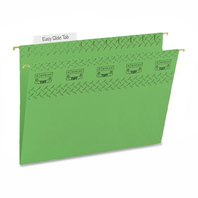 Smead Manufacturing Company Tuff Hanging Folder w/Easy Slide Tab, Letter, 18/Pack, Green