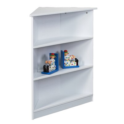 "Gift Mark 36"" H Corner Three Tier Bookcase with Top Shelf in White"