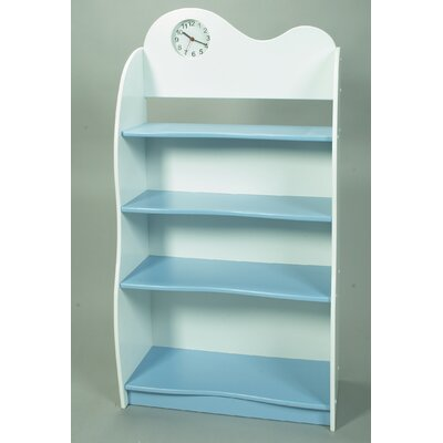 "Gift Mark 47"" H Four Tier Bookcase with Clock in Blue and White"