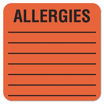 Tabbies Medical Labels for Allergies, 500/Roll