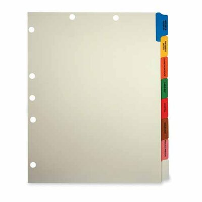 Tabbies 8-Side Tab Medical Chart Index Set, Manila, 40 per Box