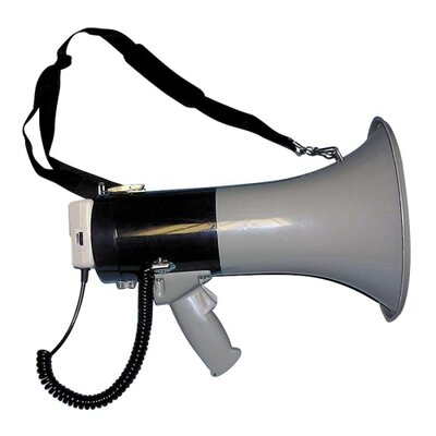 Tatco Megaphone, 800-Yard Range, Adjustable Volume, Gray/Blue