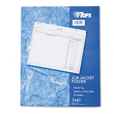 Tops Business Forms Jacket Style Job Folders, Straight Cut, Indexed, Top Tab, Ltr, MLA, 20/pk