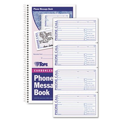 Tops Business Forms Message/Phone Call, 2-3/4 x 5, Carbonless Duplicate, 400 Sets/Book