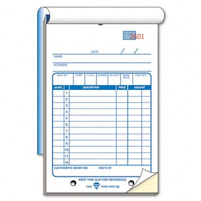 Tops Business Forms Sales Slip Book, Two-Part Carbonless, 50 Sets/Book