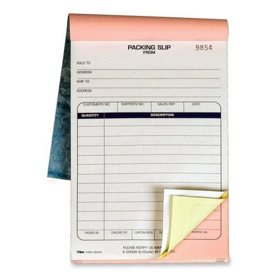 Tops Business Forms Packing Slip Book, 5-1/2 x 7-7/8, 3-Part Carbonless, 50 Sets/Book