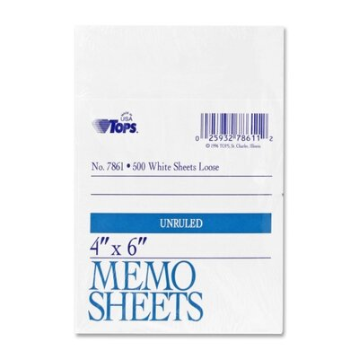 "Tops Business Forms Memo Sheet, 4"" x 6"", White, 500 Sheets"