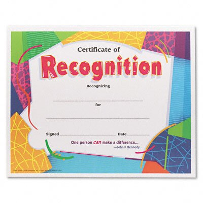 Trend Enterprises Certificate of Recognition Awards, 8-1/2 x 11, 30 per Pack