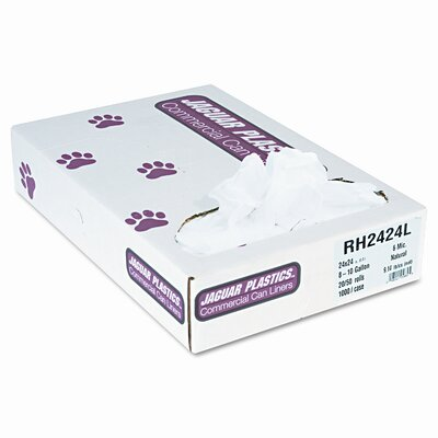 Unisan Regular Liners, 10 gallon, 6 microns, 24x24, Natural, 50 rolls of 1000 bags/ctn