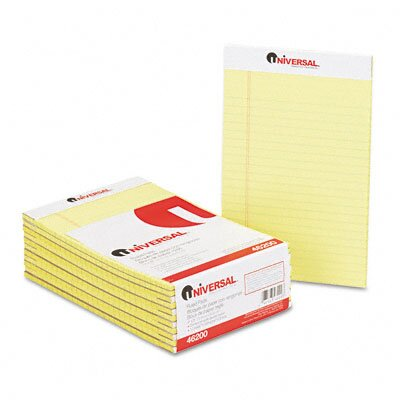 Universal® Perforated Edge Writing Pad, Jr. Legal Rule, 5x8, 50 Sheets, 12-Pack