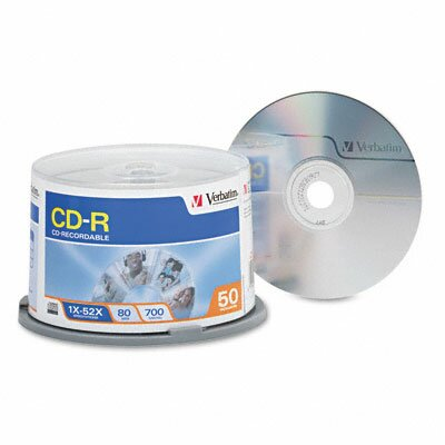 Verbatim Corporation Spindle Cd-R Discs, 700Mb/80Min, 52X, Spindle, 50/Pack