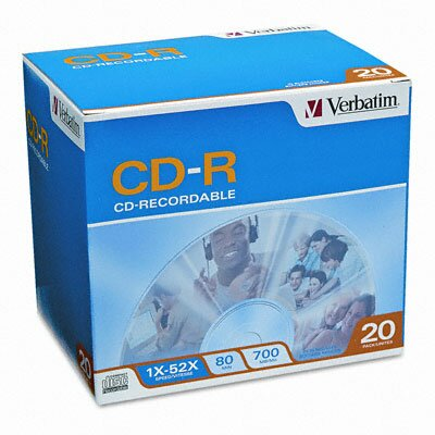 Verbatim Corporation Cd-R Discs, 700Mb/80Min, 52X, 20/Pack