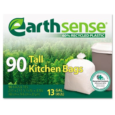 Webster Industries EarthSense Recycled Can Liners, 13gal, White, 90 Bags per Box