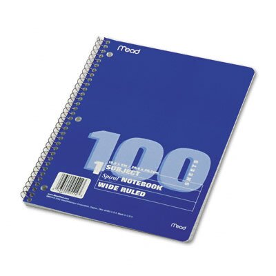 Mead Spiral Bound Notebook, Wide/Margin Rule,10-1/2X8, 1 Subject 100 Sheets/Pad