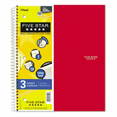 Mead Five Star Wirebound 5-Subject Notebook, College Rule, Letter, 200 Sheets