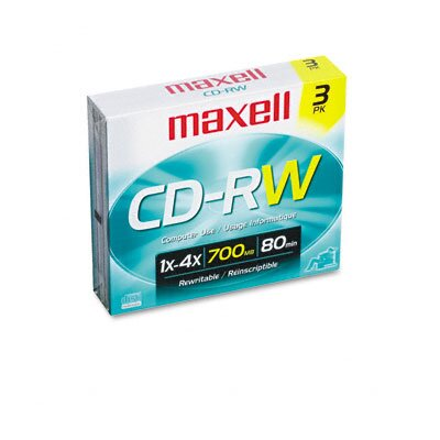 Maxell Corp. Of America CD-RW Discs, 700MB/80min, 4x, with Slim Jewel Cases, Silver, Three/Pack