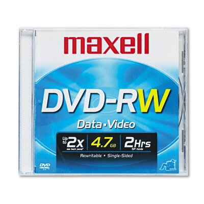 Maxell Corp. Of America DVD-RW Disc, 4.7GB, 2x, with Jewel Case, Silver