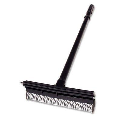 Unger Plastic Squeegee/Scrubber, 24&quot; L, Wood Handle, Black