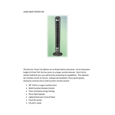 Lasko XTRA Air Tower Fan with Fresh Air Ionizer