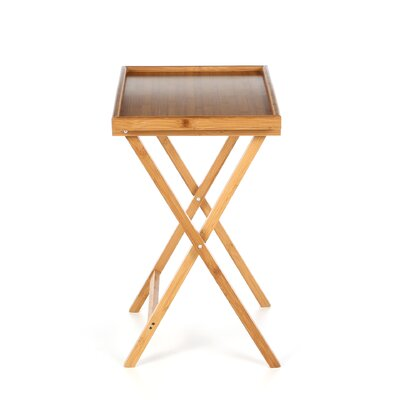 Lipper International Bamboo Folding TV Tray Table with Lip