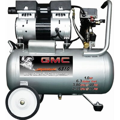 GMC Power Equipment 6.3 Gallon GMC SYCLONE 6310 Ultra Quiet and Oil-Free Air Compressor