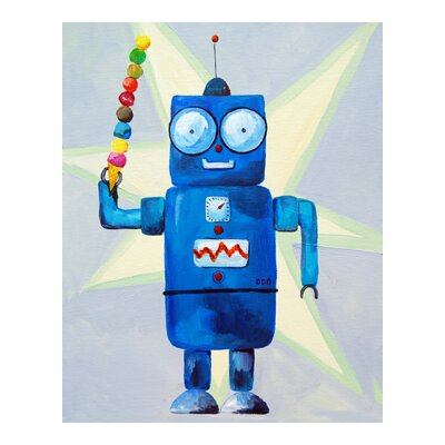 CiCi Art Factory Patchwork Dimdat Love Ice Cream Robot Canvas Print by Liz Clay