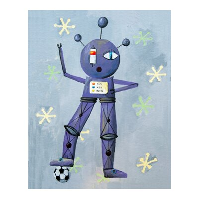 CiCi Art Factory Patchwork Newton Loves Soccer Robot Canvas Print by Liz Clay
