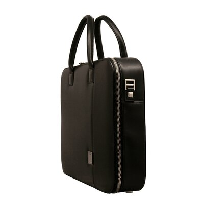 Aaron Irvin Box Calf Leather Small Zipper Briefcase in Black