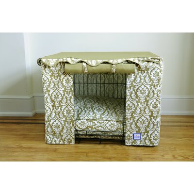 BowhausNYC Dog Crate Cover in Damask