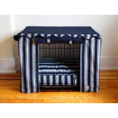 BowhausNYC Dog Crate Cover in Nautical Stripe