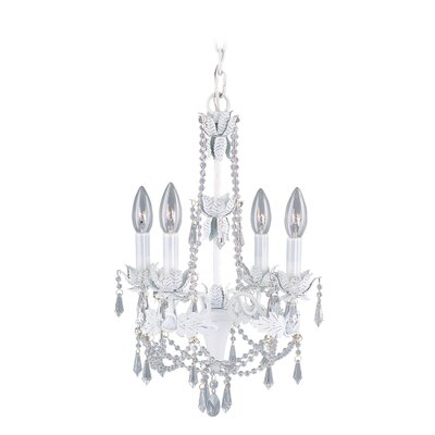 Athena Four Light Mini Chandelier in Antique White