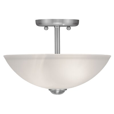 "Livex Lighting Somerset 9.5"" 2 Light Semi Flush Mount"