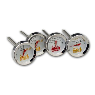 Taylor Weekend Warrior Meat Grilling Thermometer (Set of 4)