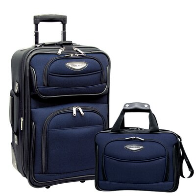Traveler's Choice Amsterdam 2 Piece Carry-On Luggage Set in Navy