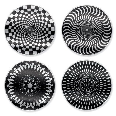 Kikkerland Moire Coaster in Black/White (Set of 4)