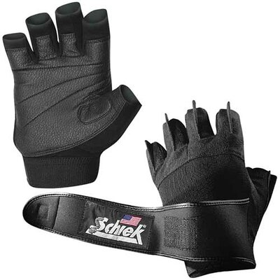 Schiek Sports, Inc. Platinum Gel Lifting Gloves with Wrist Wrap in Black